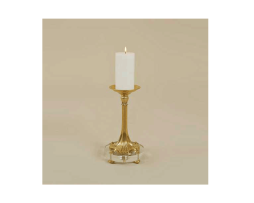 Amber-Finished-Cast-Brass-Candleholder,-Glass-Base
