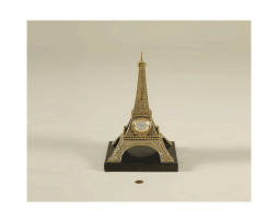 Antique-Finished-Cast-Brass-Table-Clock,-Eiffel-Tower-Motif,-Black-Waxstone-Base