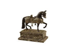 Antique-and-Dark-Bronze-Finished-Cast-Brass-Armored-Horse,-Dark-Snakestone-Stone