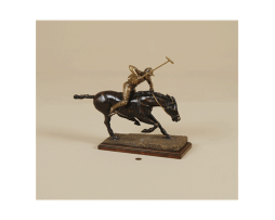 Antique-and-Dark-Bronze-Finished-Cast-Brass-Polo-Player-on-Mahogany-Base
