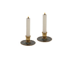 Pair-of-Cast-Brass-Candlesticks-with-Paua-Shell-Accents